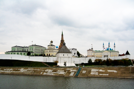 The kremlin viewed from the bridge over the Kazanka River.