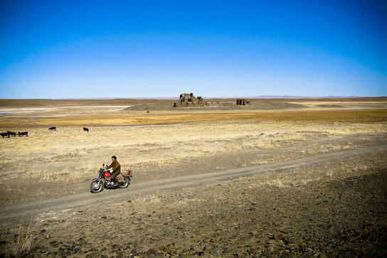 Herdsman riding past Sum Khokh Burd.