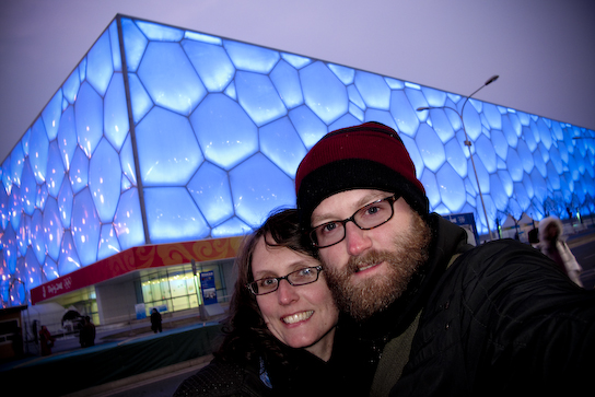 Here we are at the National Aquatics Center (aka. Water Cube) built for the Olympic games all light up at night.