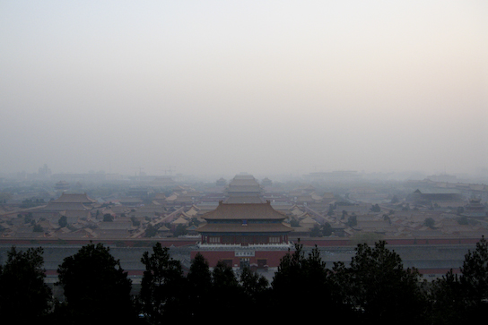 Forbidden City from Jinshan Park on another smoggy day.