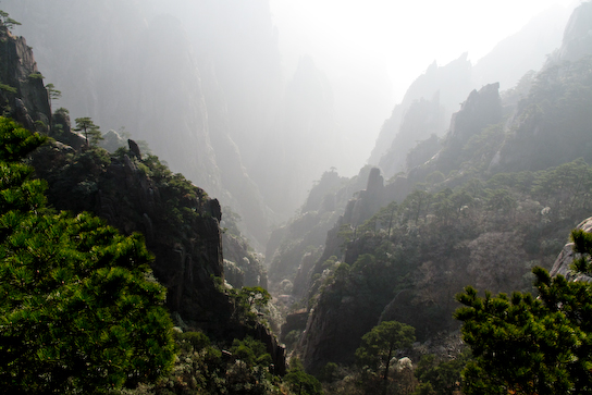Misty valley below the mountain.