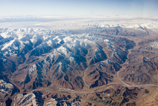 Snowcapped peaks of the Qilian Shan range.