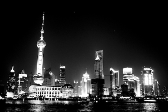 Pudong at night from the Bund.