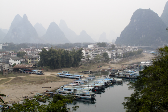 Yangshuo with the karst scenery all around.