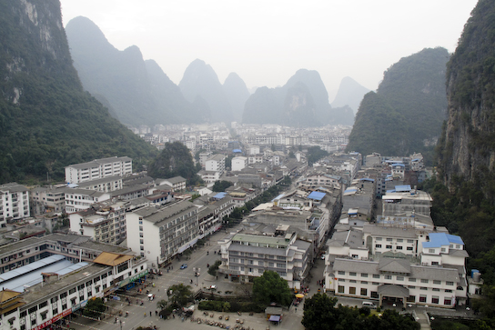 The main drag. Our hostel is near the bottom right.