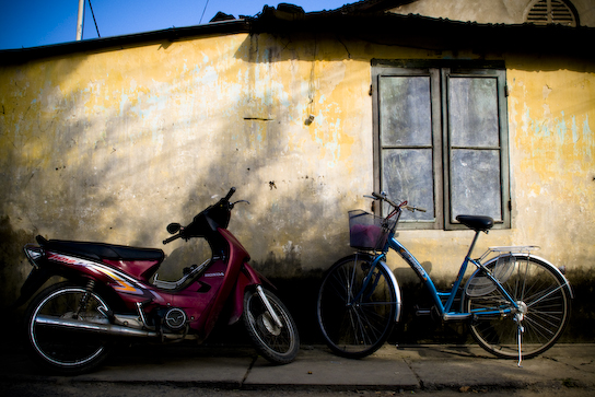 Bikes and a house.
