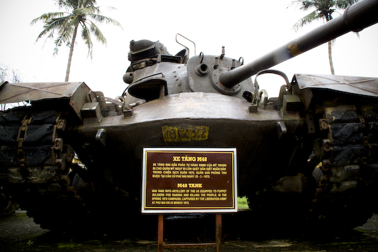 """M48 tank with artillery of the US equipped to puppet soldiers for raiding and killing the people. In the sprink 1975 campaign, captured be the Liberation Army at Phu Bai on 25 March 1975."""