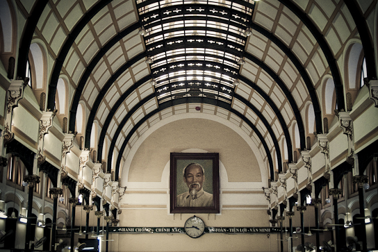 Main post office with Ho Chi Minh portrait.