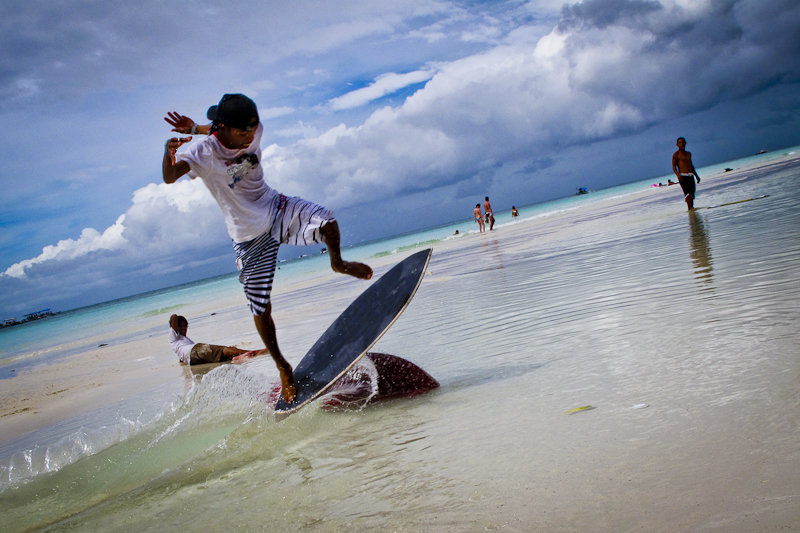 Skimboarding has just caught on in Boracay. Welcome to the 80's.