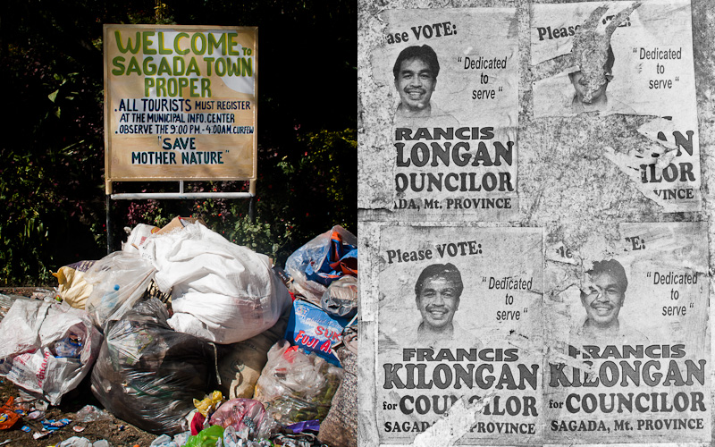 Preservation sign outside Sagada; Election posters.