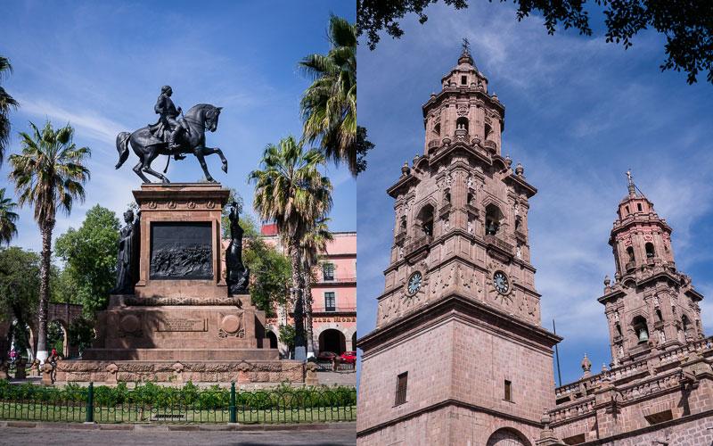 Estatua Ecuestre al Patriota Morelos; Cathedral, Morelia