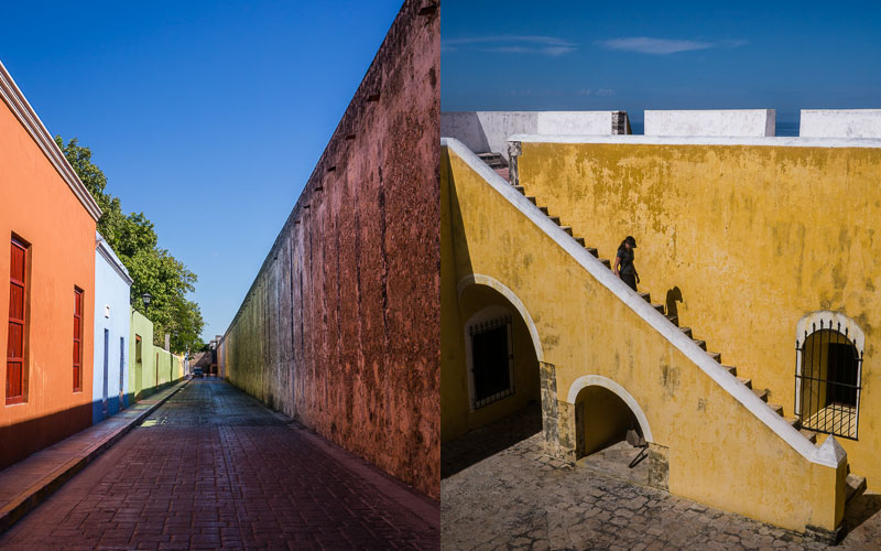 Reflected colors across the street; Fuerte-Museo San José del Alto, Campeche