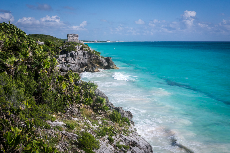 The beachfront ruins at Tulum.