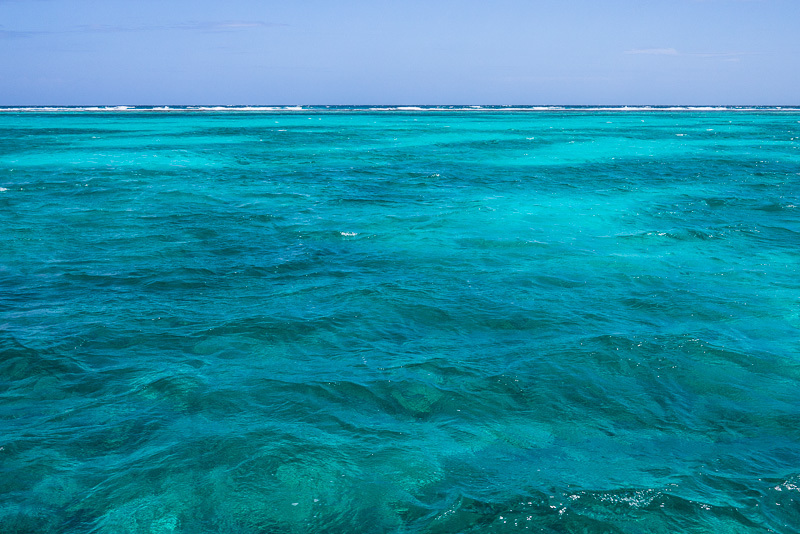 Waves breaking over the Belize Barrier Reef.