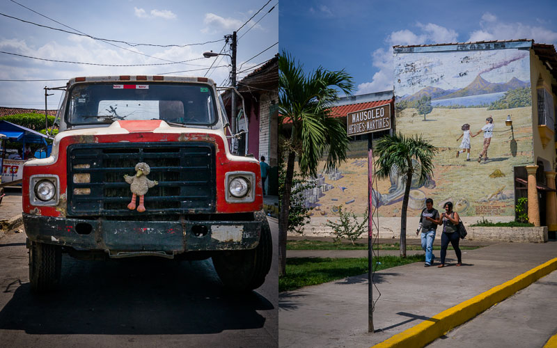 Big truck, Big Bird; Mural at the Mausoleo de los Héroes y Martires, Léon