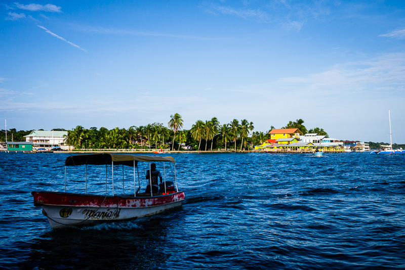 Little boats like this take you around the Bocas islands.