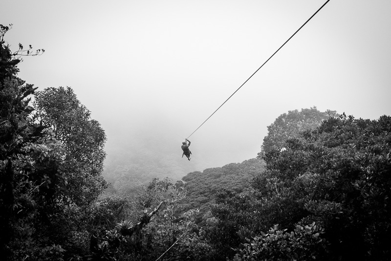 Zipping through the Monteverde cloud forest.