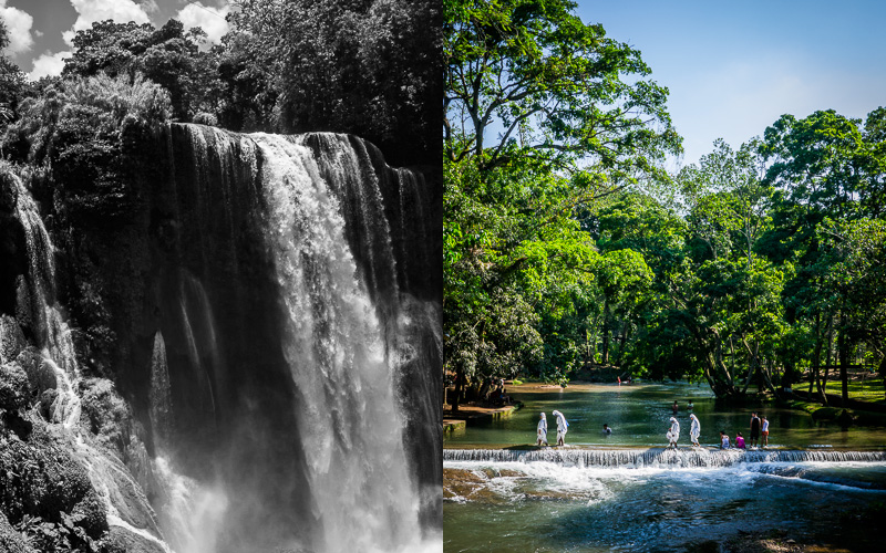 Waterfalls near Copán; Nuns walking through water.