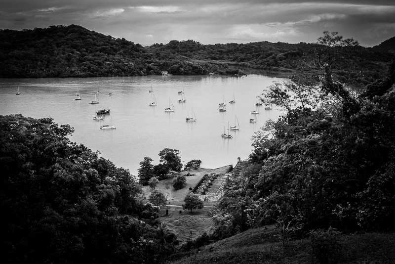 Overlooking one of the forts along the harbor of Portobelo.